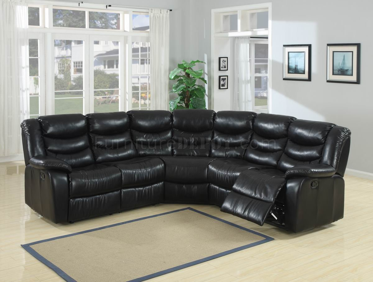 black durable bonded leather modern reclining sectional sofa p