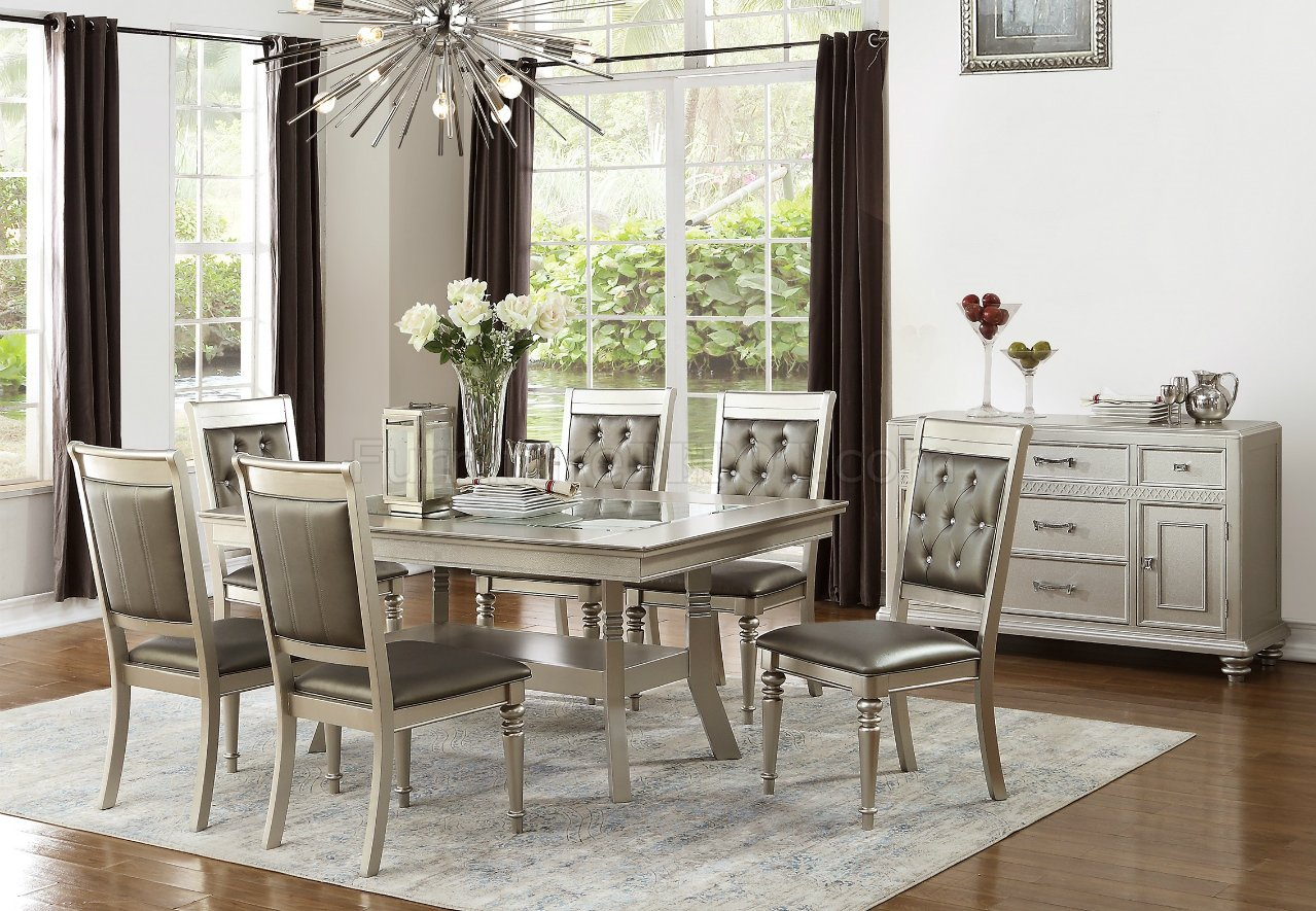 F2430 Dining Set 5Pc In Silver Finish By Boss W/ F1705 Chairs