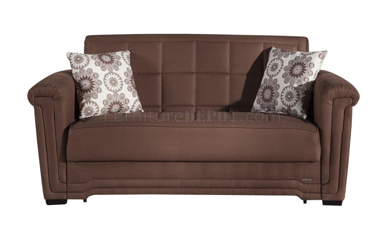 Truffle Microfiber Modern Convertible Loveseat Bed W Pillows