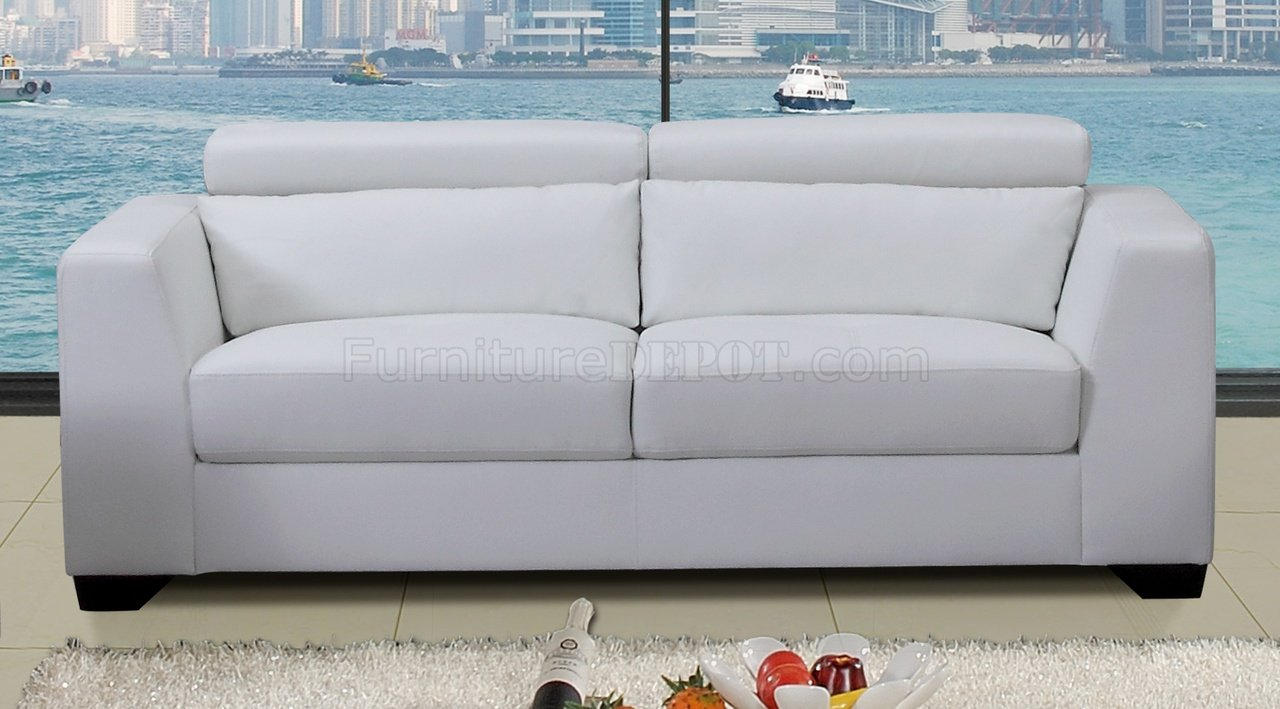 White Leather Modern Sofa Loveseat Set W Optional Chair