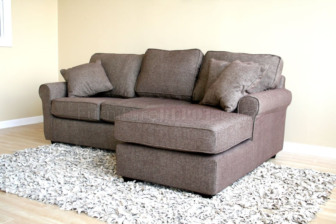 Small Sectional small sectional sofa in brown fabric