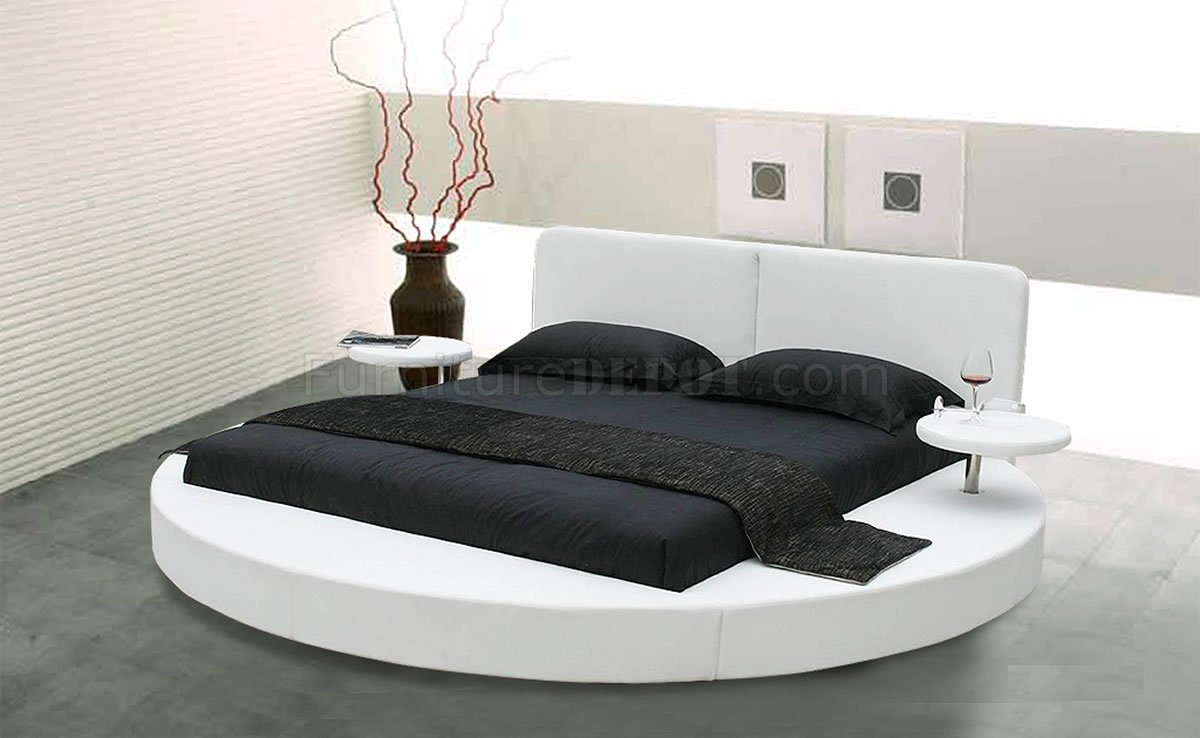 choice of white or black leatherette round bed w side shelves