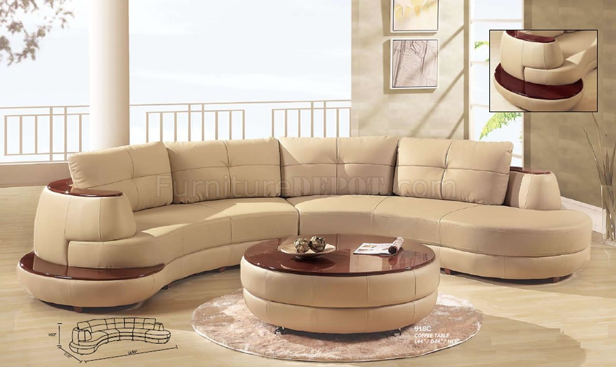 Beige Leather Modern Sectional Sofa W/Cherry Wooden Shelf