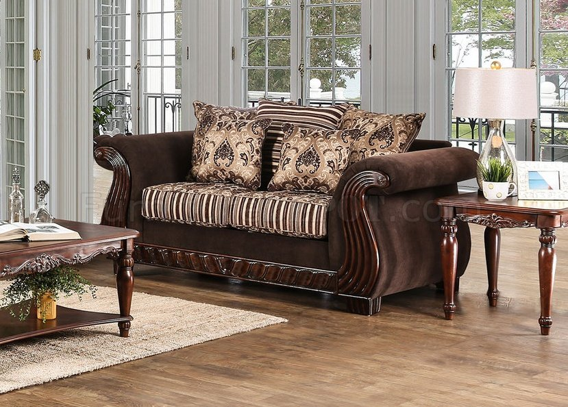 Thales Sofa Sm6208 In Brown Chenille Fabric W Options