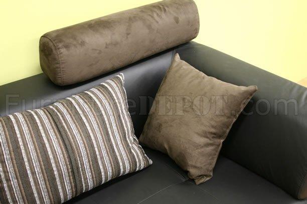 black leather modern sectional sofa set wmicrofiber headrests p