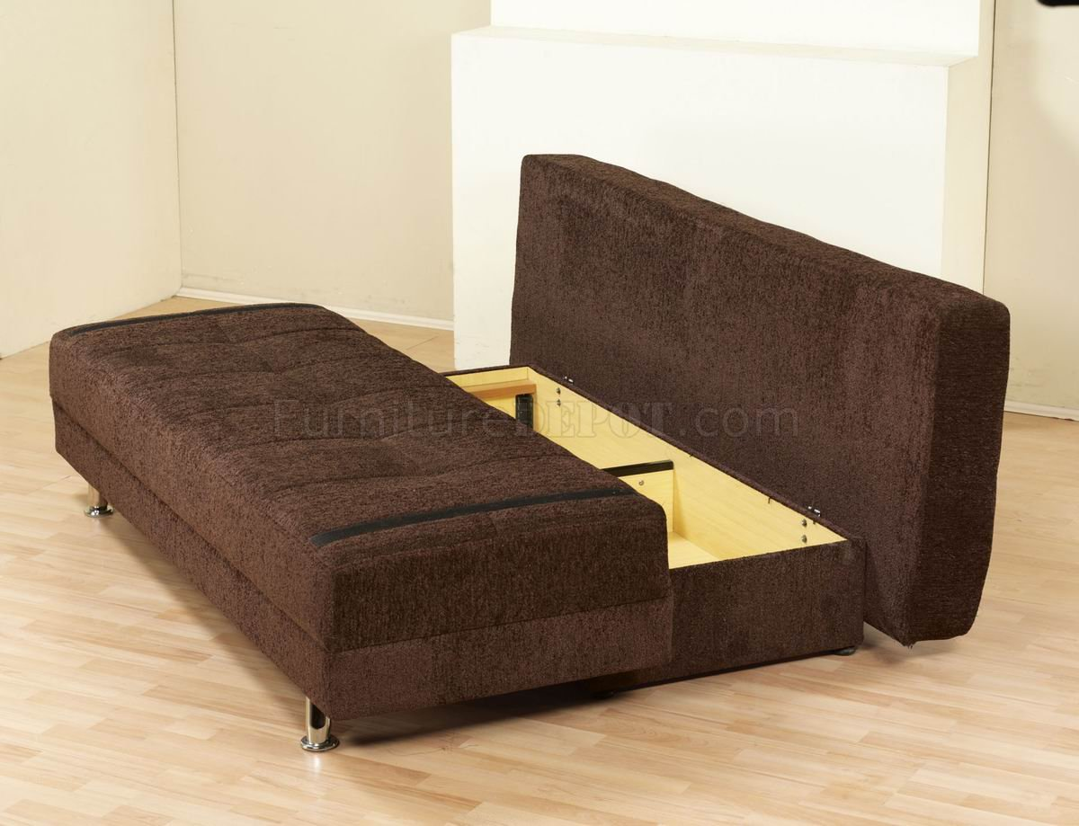 Dark Brown Fabric Modern Sofa Bed Convertible W Metal Legs
