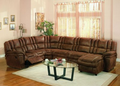 Brown Specially Treated Microfiber Sectional Sofa W Recliner