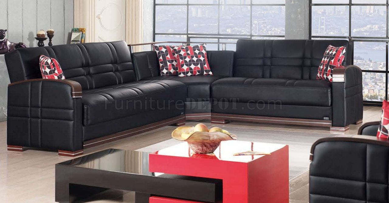 Bronx Sectional Sofa Bed in Black Bonded Leather by Empire : 19a2ec39a1fb3e069f0e5bbb3b14b5e8image1280x668 from www.furnituredepot.com size 1280 x 668 jpeg 124kB
