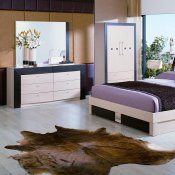 Two-Tone Beige and Wenge Matte Finish Modern Bedroom Set
