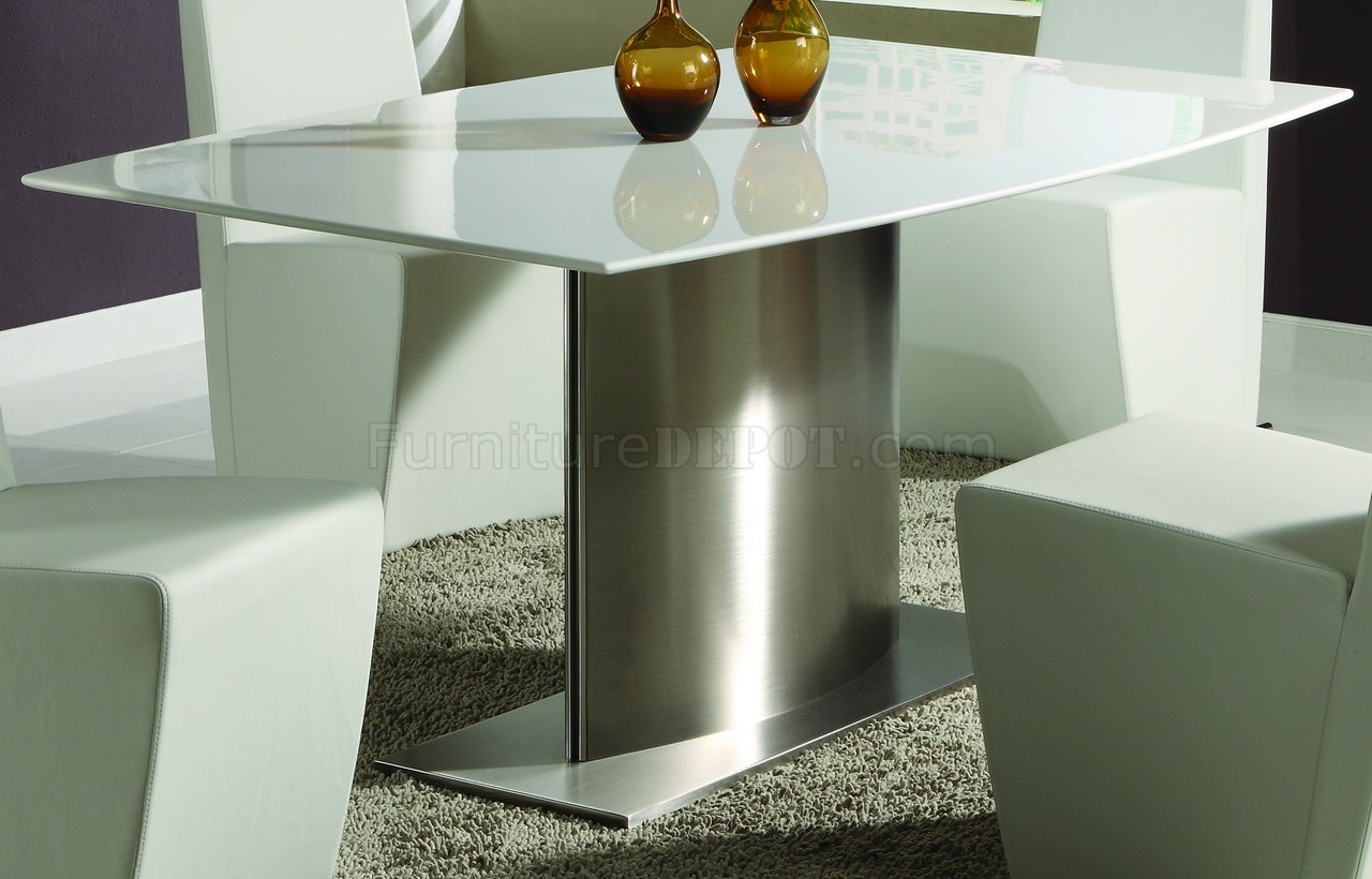 Modern Dining Room Table W White Marble Top Amp Steel Base