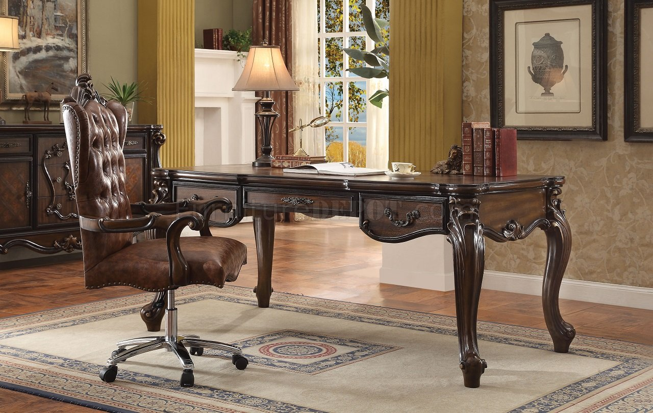 Warm Cherry Executive Desk Home Office Collection: Versailles Executive Desk 92280 In Cherry Oak By Acme W