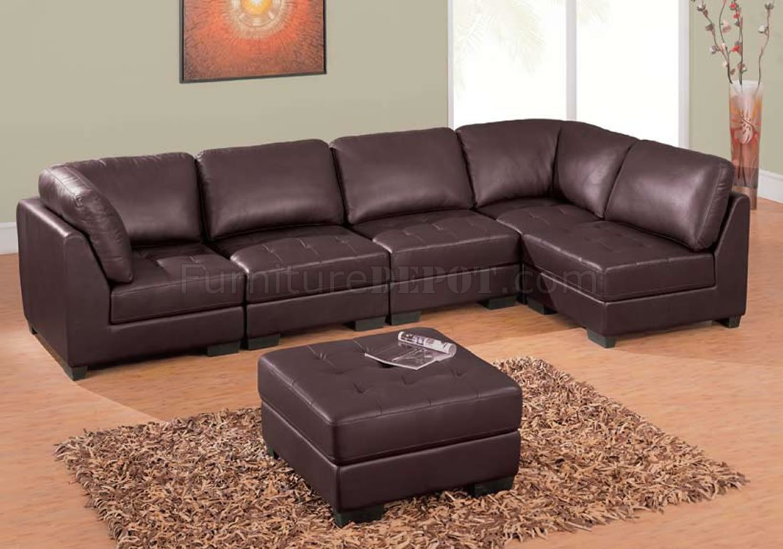 Modern Brown Leather 5 Pc Sectional Sofa W/Ottoman