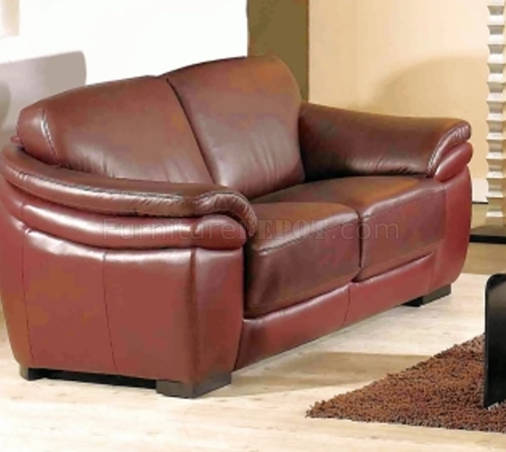 Burgundy full leather modern sofa w optional loveseat chair Burgundy leather loveseat
