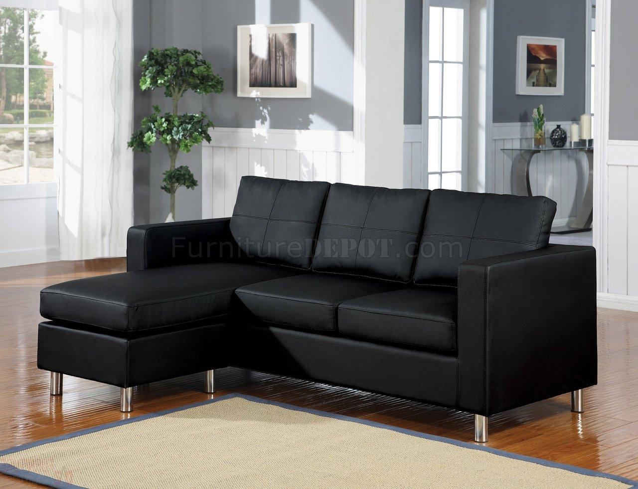 15065 Kemen Sectional Sofa In Black Vinyl By Acme