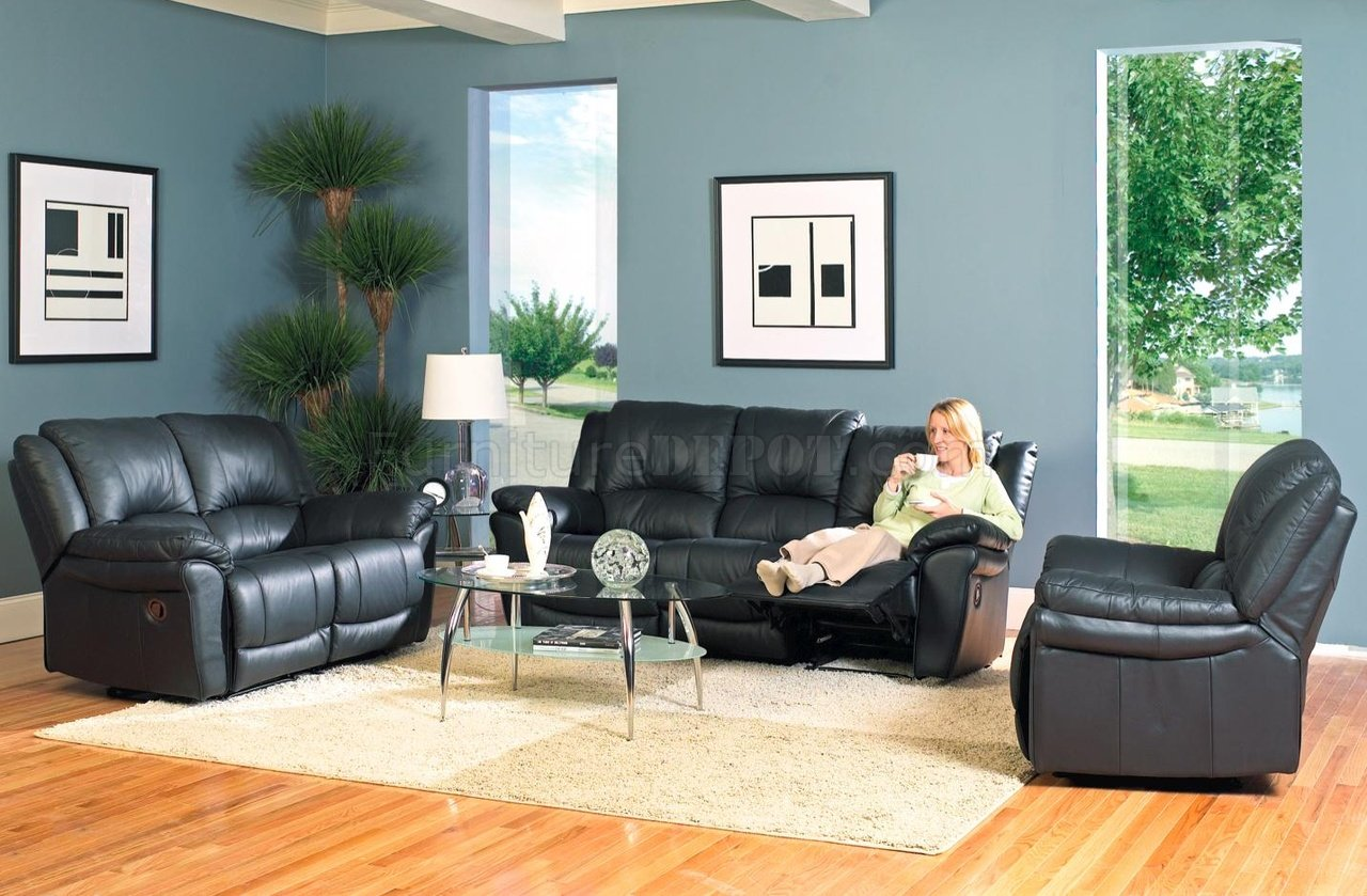 black bonded leather modern reclining living room sofa w options crs