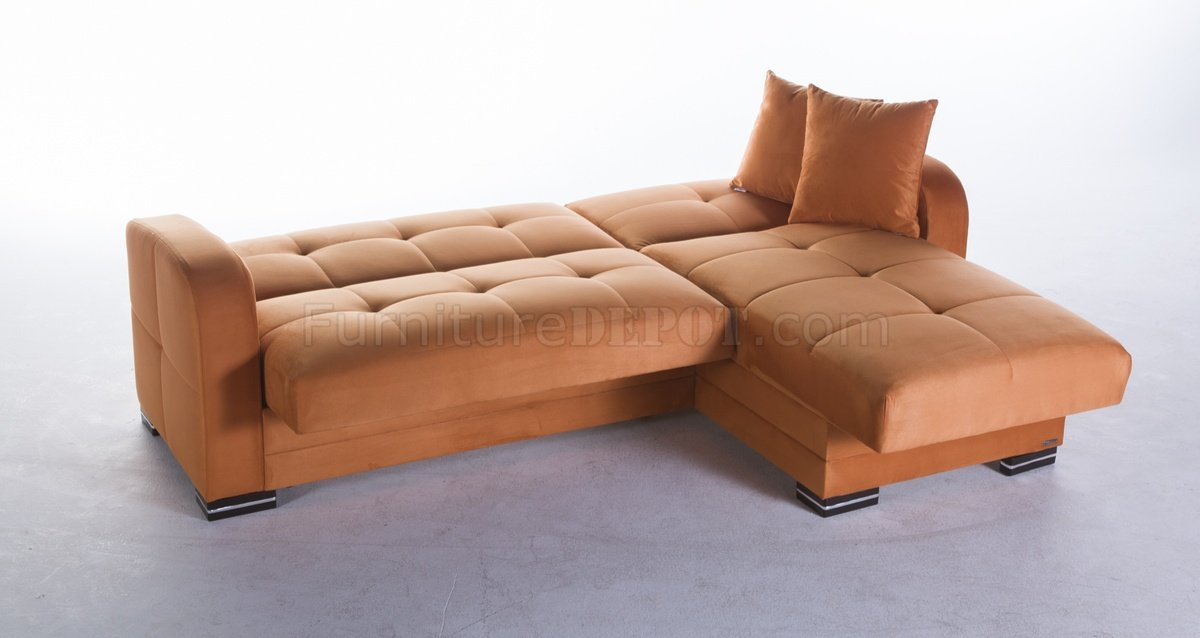 sectional sofa bed rainbow orange fabric sunset with storage chase leather for sale toronto