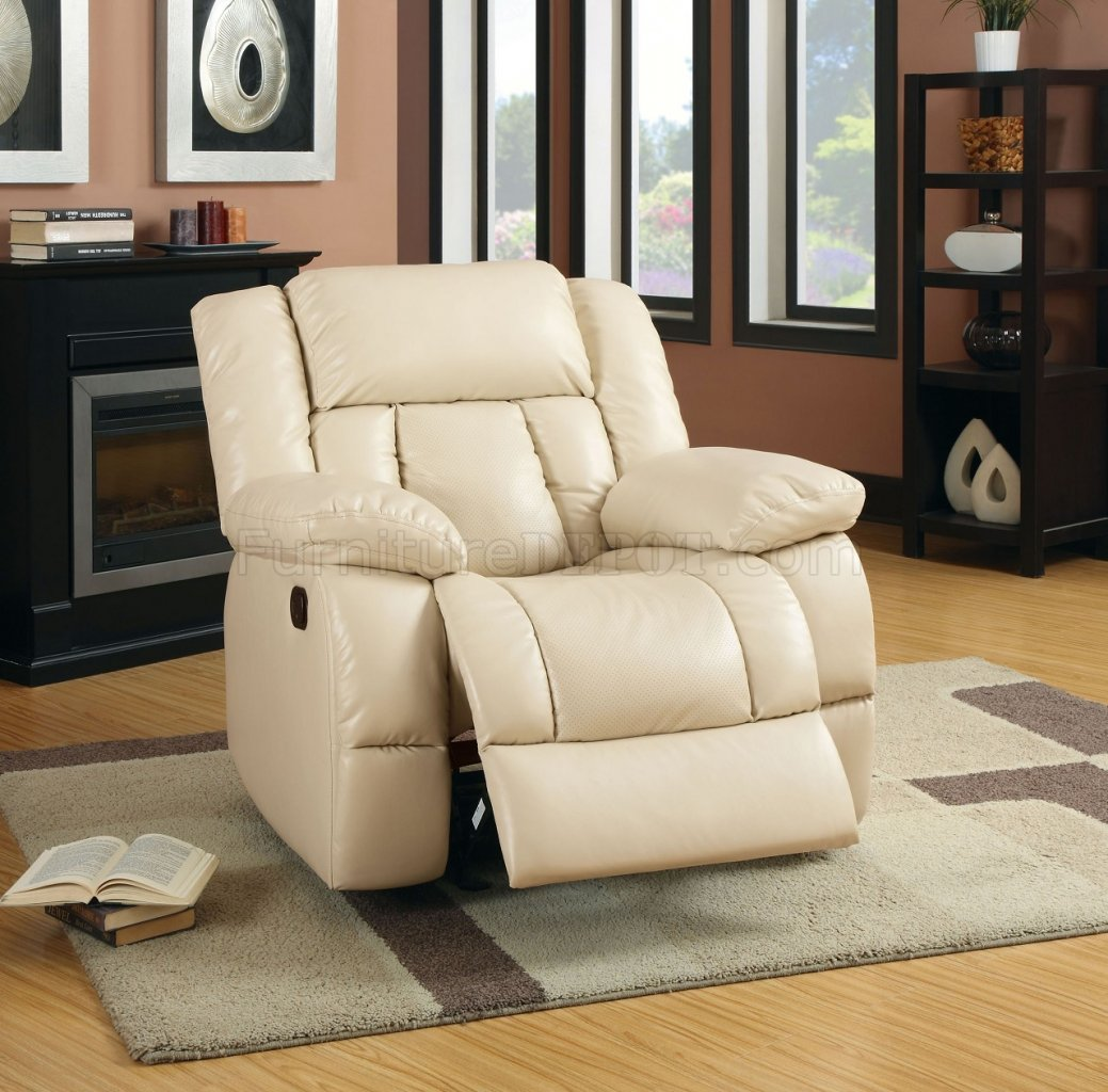Reclining Sofa CM6827 in Ivory Leather Match w Options