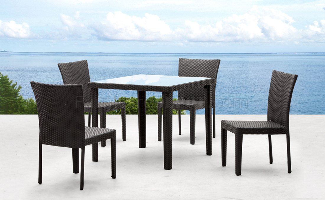 Dark Espresso Modern 5Pc Outdoor Dining Set W Glass Top Table ZOUT