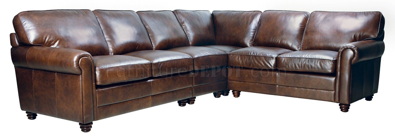 havana full italian leather classic sectional sofa w rolled arms. Black Bedroom Furniture Sets. Home Design Ideas