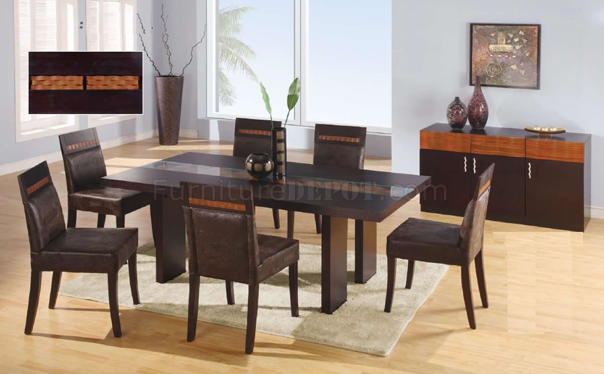 Wenge Finish Modern Dining Table W Glass Inlay Table Top