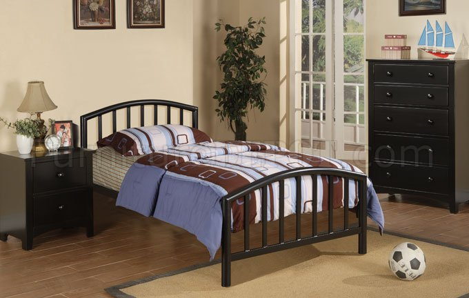 Black Kids 3Pc Bedroom Set by Boss w/F9018 Metal Bed