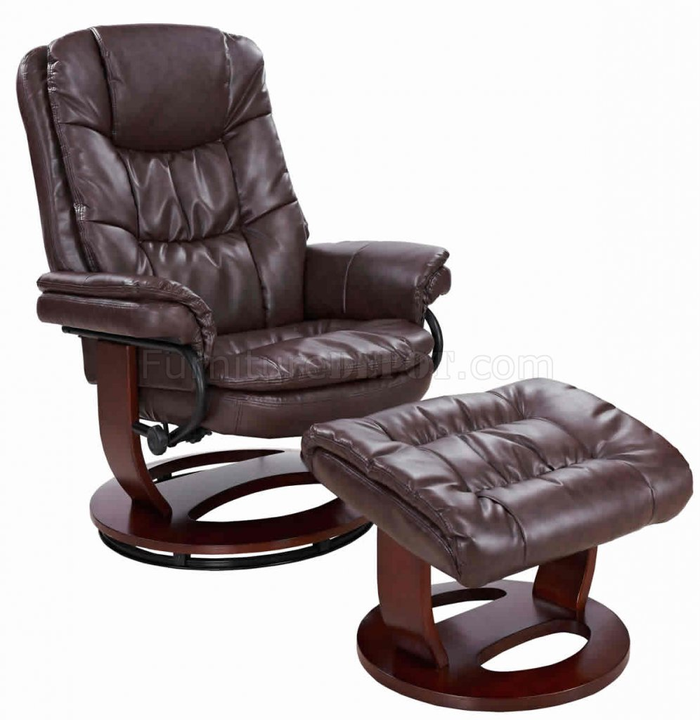 savuage brown bonded leather modern recliner chair w ottoman