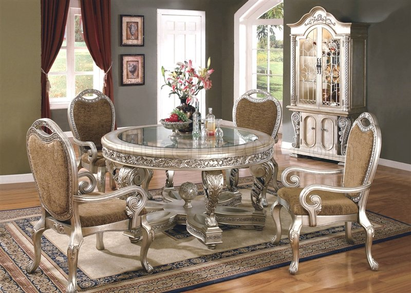 Glass Top Amp Metallic Finish Classic 5pc Dining Set W Options