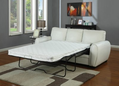 White Bonded Leather Modern Sofa W Full Size Sleeper