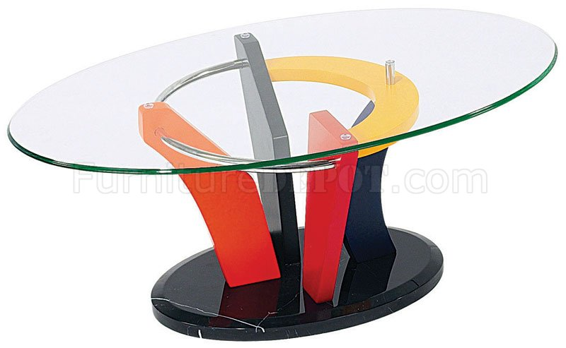 Colorful Artistic Coffee Table With Oval Glass Top GFC 354430CMC