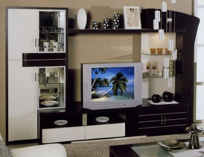 Wenge Finish Modern Wall Unit With Liquor Cabinets