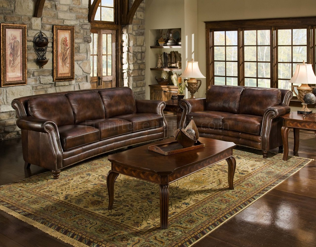 Cognac Top Grain Leather Traditional Sofa W Optional Items