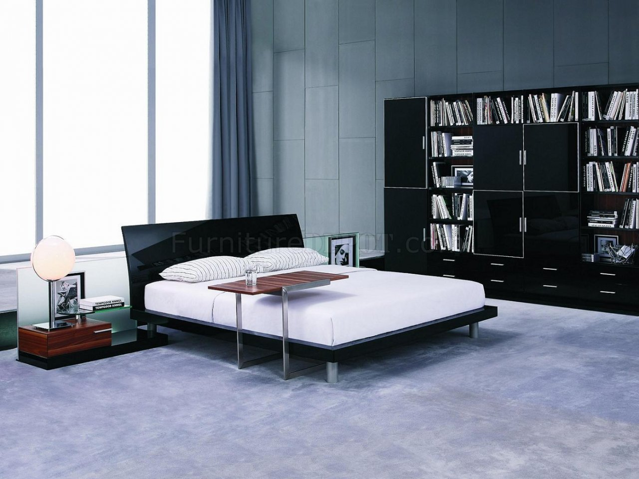 lacquer finish contemporary bedroom set aron black
