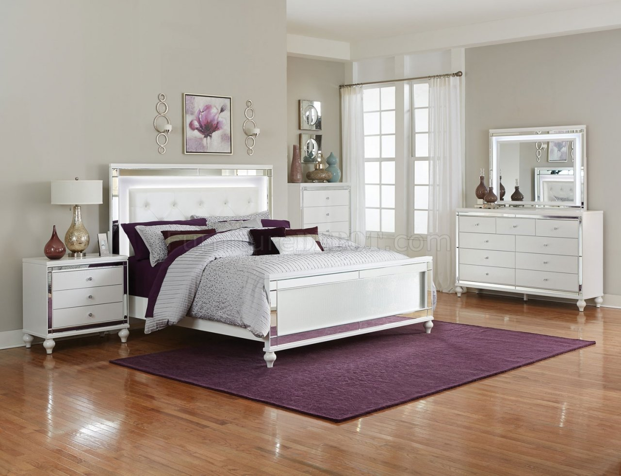 Alonza Bedroom 1845LED In White By Homelegance W/Options