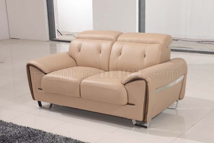 669 Sofa In Beige Leather By Esf W Optional Loveseat Chair