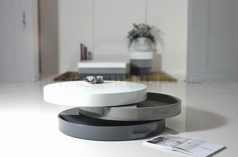 Tri Tone Finish Modern Round Coffee Table W Swivel Parts