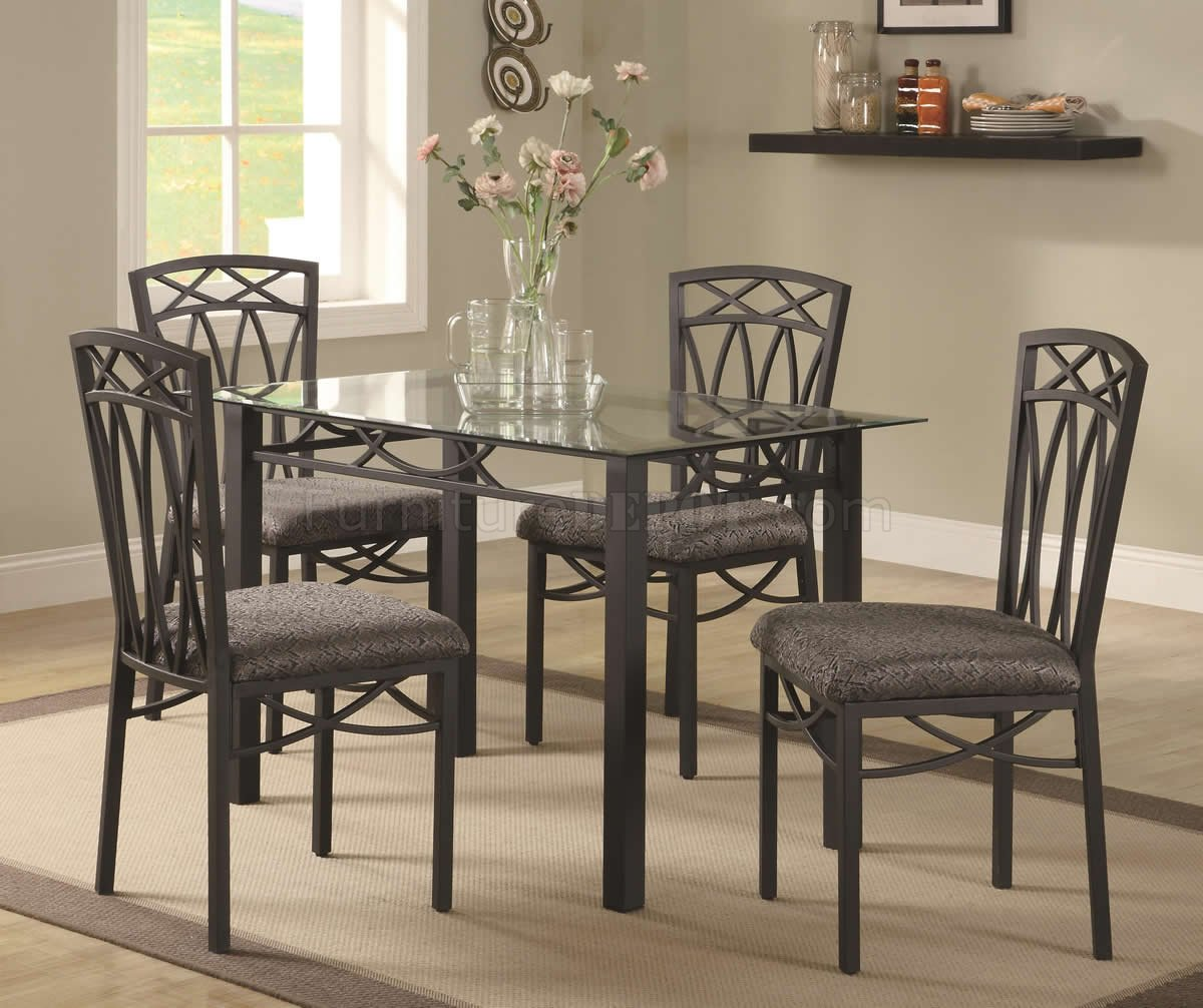 Modern 5pc Dining Table Set Kitchen Dinette Chairs: Beveled Glass Top & Dark Metal Base Modern 5Pc Dinette Set