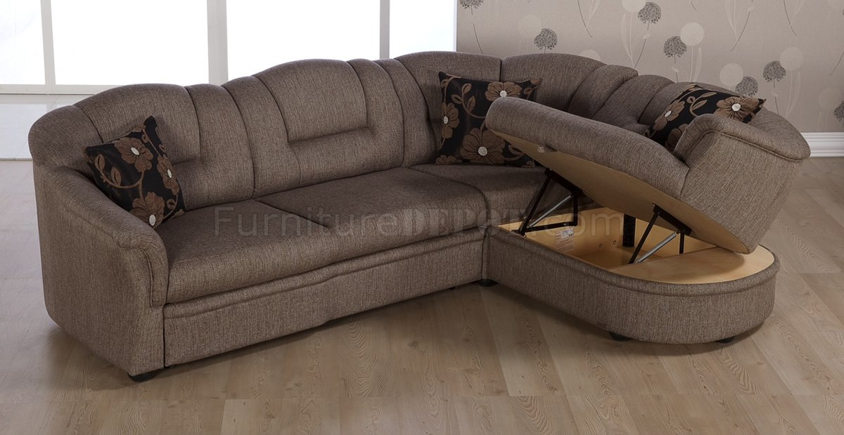 Two tone brown fabric convertible sectional sofa bed w storage for Duke sectional sofa bed w storage