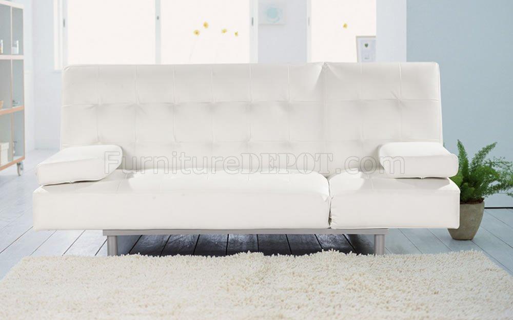Modern Sofa Bed Convertible Trio Leatherette White