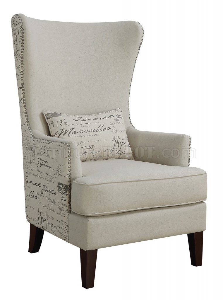 Set Of Two Accent Chairs 904047 In Cream Fabric By Coaster