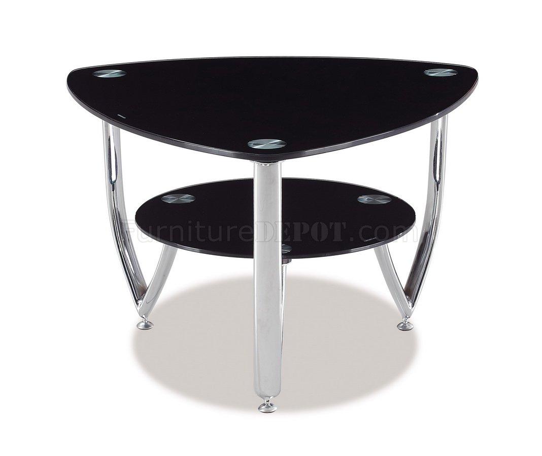 Black Glass Top & Metal Base Modern Coffee Table W/Options