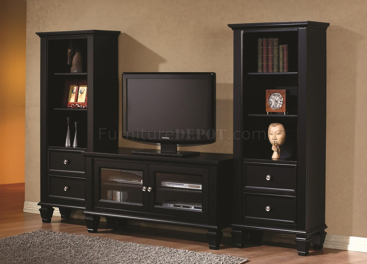 702251 Tv Stand In Black By Coaster W Optional Media Towers