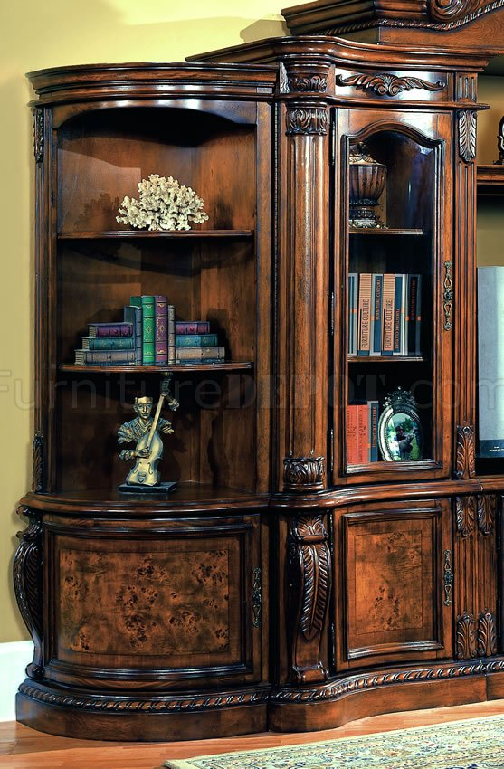 Cherry Amp Ash Burl Finish Classic Entertainment Wall Unit