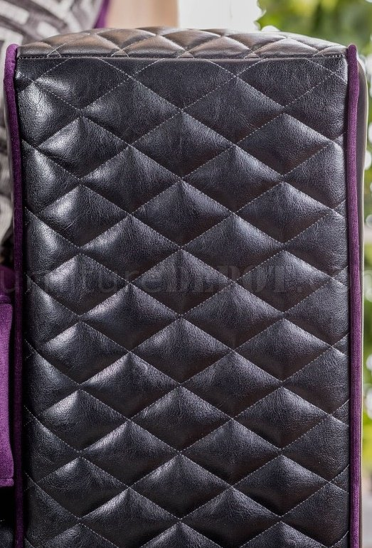 Biden SM6304 Sofa in Purple Fabric & Black Leatherette w ...