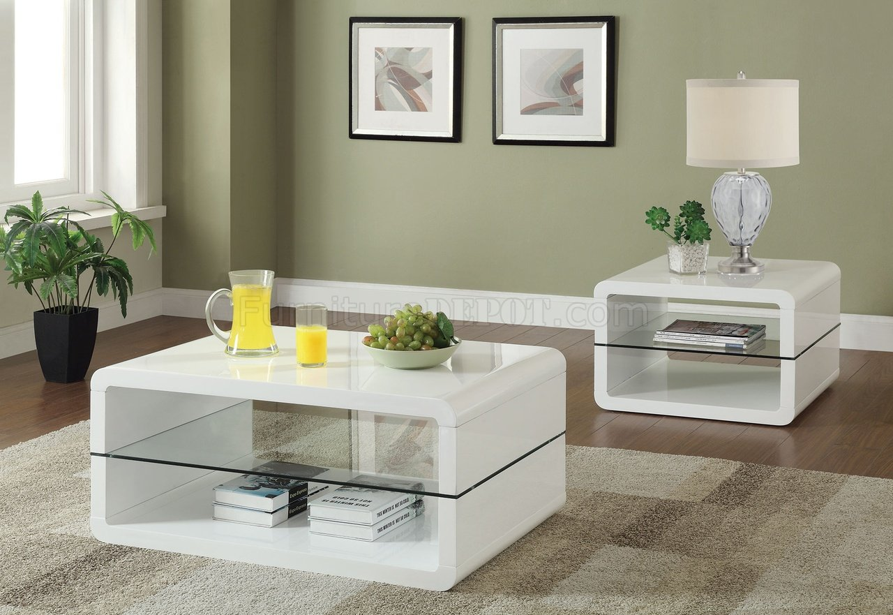 - 703268 Coffee Table 3Pc Set In Glossy White By Coaster