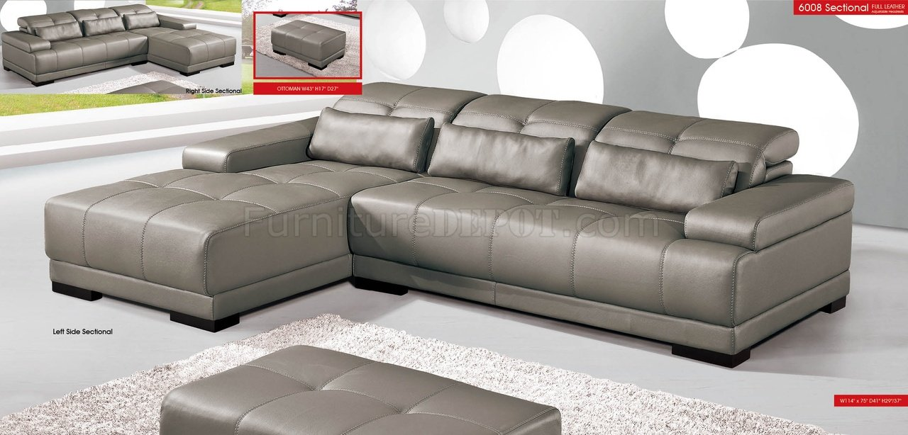 Grey Genuine Leather Sectional Sofa W/Adjustable Headrests