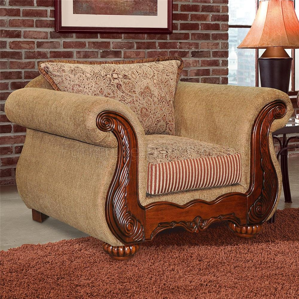 Light Brown Chenille Traditional Living Room Sofa w/Options - Traditional Chenille Living Room Savonna U140 Light Brown