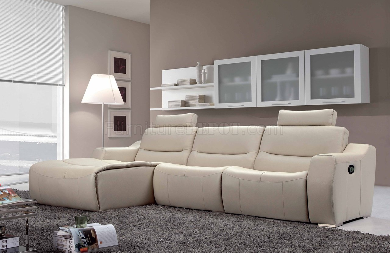 off white leather 2143 modern reclining sectional sofa by esf. Black Bedroom Furniture Sets. Home Design Ideas