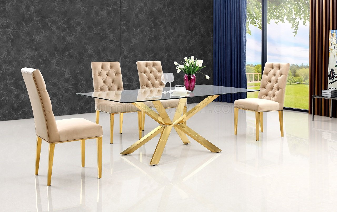 Capri Glass Top Dining Table 716 In Golden Tone Finish W
