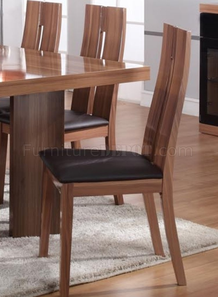 Matt Walnut Finish Modern Round Dining Table Woptional