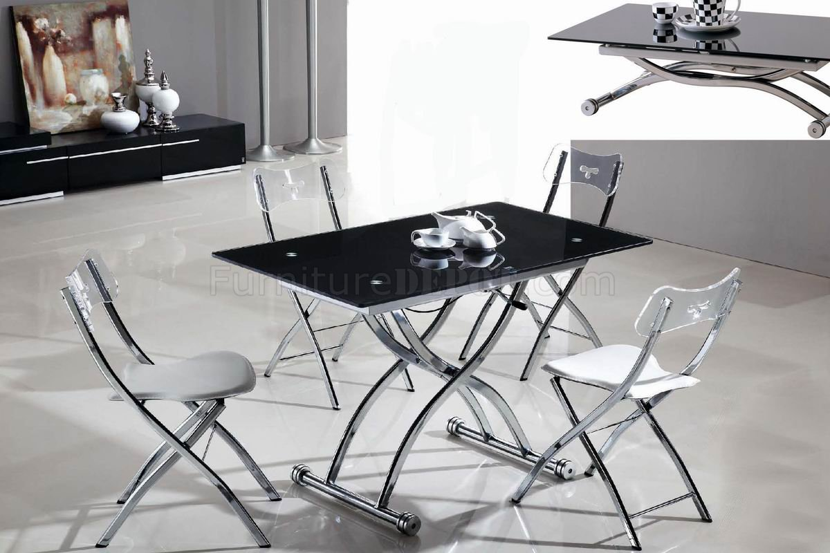 Glass Top Metal Base Modern Adjustable Dining Table